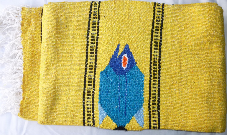 Southwestern Mexican Large serape blanket pilates blanket multi color Yellow Fish