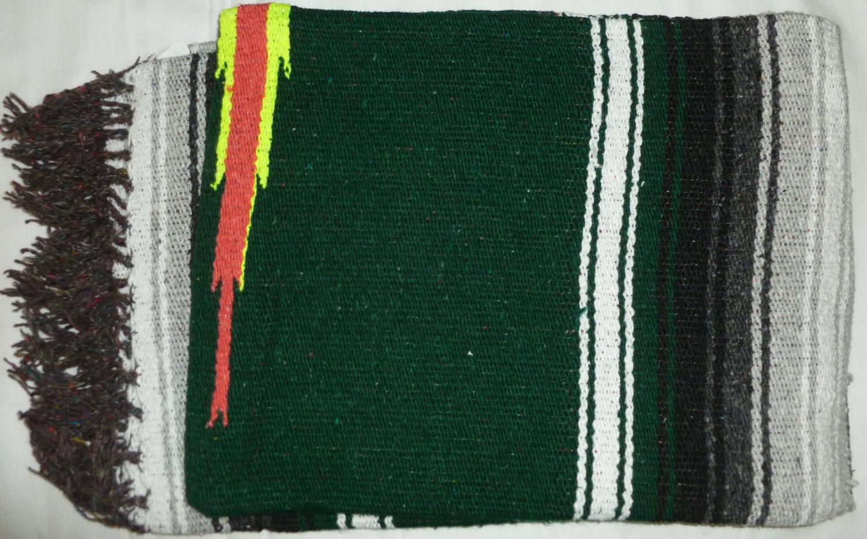 Southwestern Mexican Large serape blanket pilates blanket multi color Green Gray Pattern