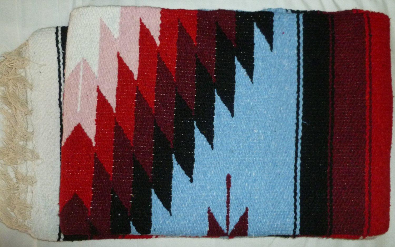 Southwestern Mexican Large serape blanket pilates blanket multi color Pink Blue Pattern