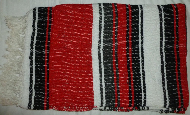 Southwestern Mexican baja blanket yoga blanket pilates blanket Red Pattern color outback