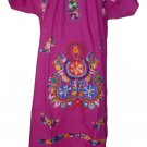 Purple Embroidered Mexican Dress Vintage Tunic Peasant MEDIUM