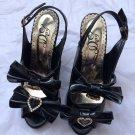 Deary heart buckle patent kitten heels