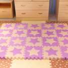 EVA Foam Beige&Purple Stars Rug Kid Puzzle Play Mat Baby Crawling Mats 30X30X1cm