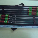 New 7PCS BBQ Roast Barbecue Needle / Fork Skewers Wooden Handle Stainless Steel