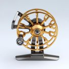 Ultra-Light Aluminum Alloy Metal Wheel Raft Fishing Tackle Front Drag Round Reel - Gold Color