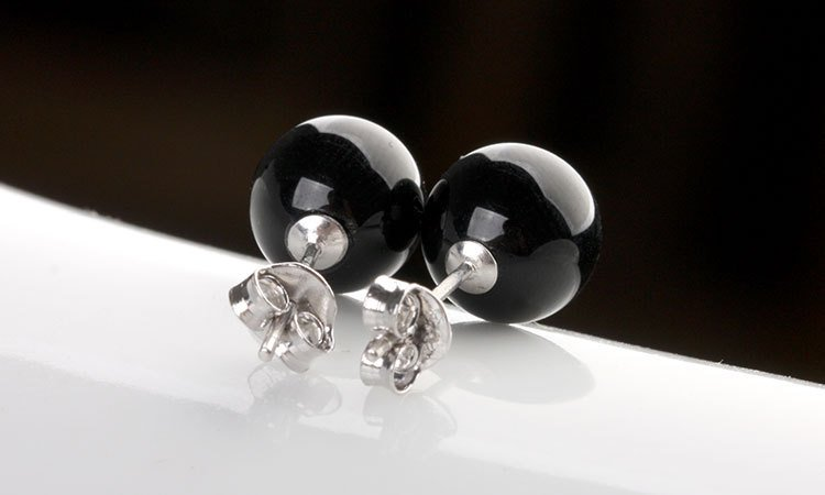 Women Black Hypoallergenic Sterling Silver Natural Agate Onyx Ball Earrings