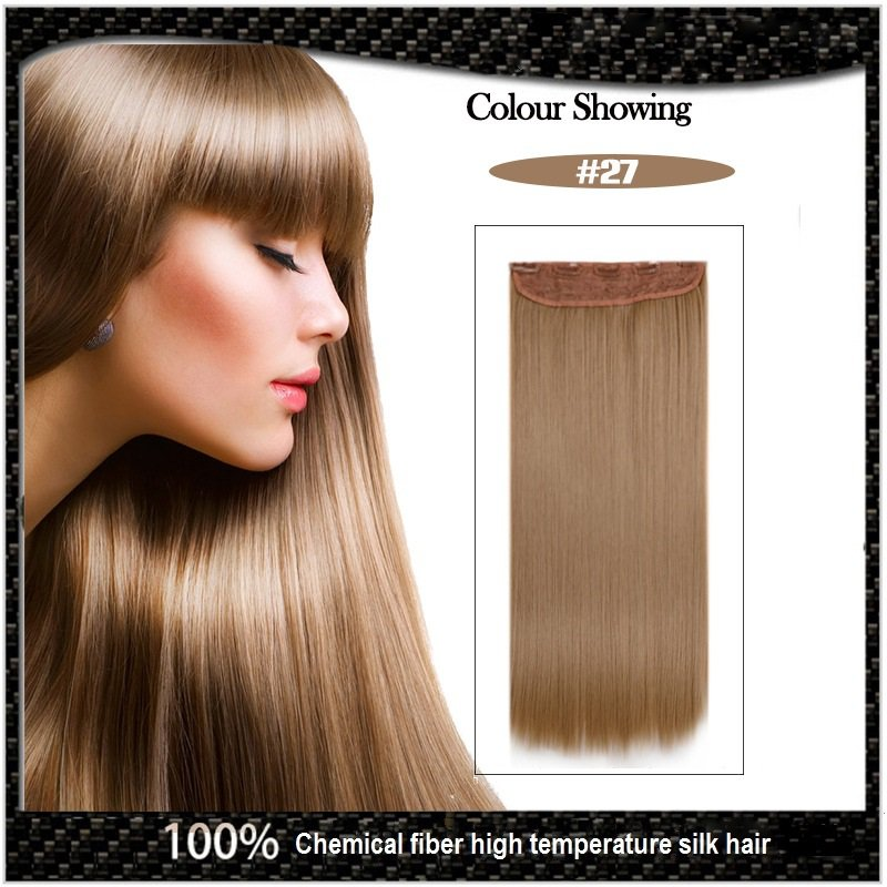 COLOR #27 Five Card Clip-on Hairpiece 120g High Temperature Wire Synthetic Straight Hair Extension