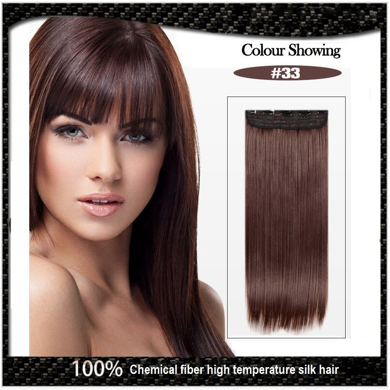 COLOR #33 Five Card Clip-on Hairpiece 120g High Temperature Wire Synthetic Straight Hair Extension