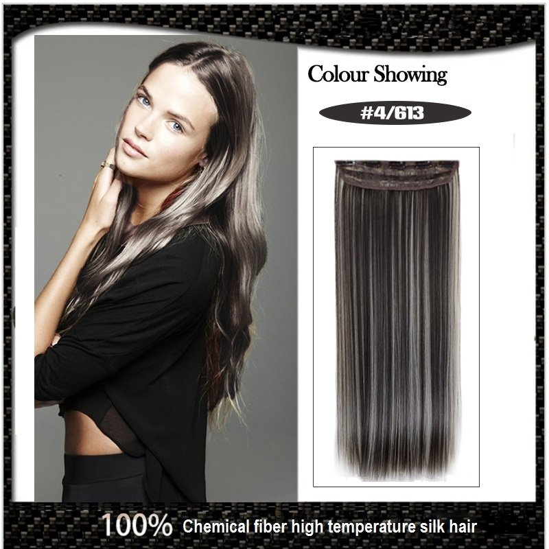 COLOR#4/613 Five Card Clip-on Hairpiece 120g High Temperature Wire Synthetic Straight Hair Extension