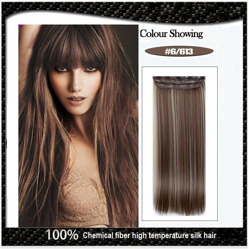 COLOR#6/613 Five Card Clip-on Hairpiece 120g High Temperature Wire Synthetic Straight Hair Extension