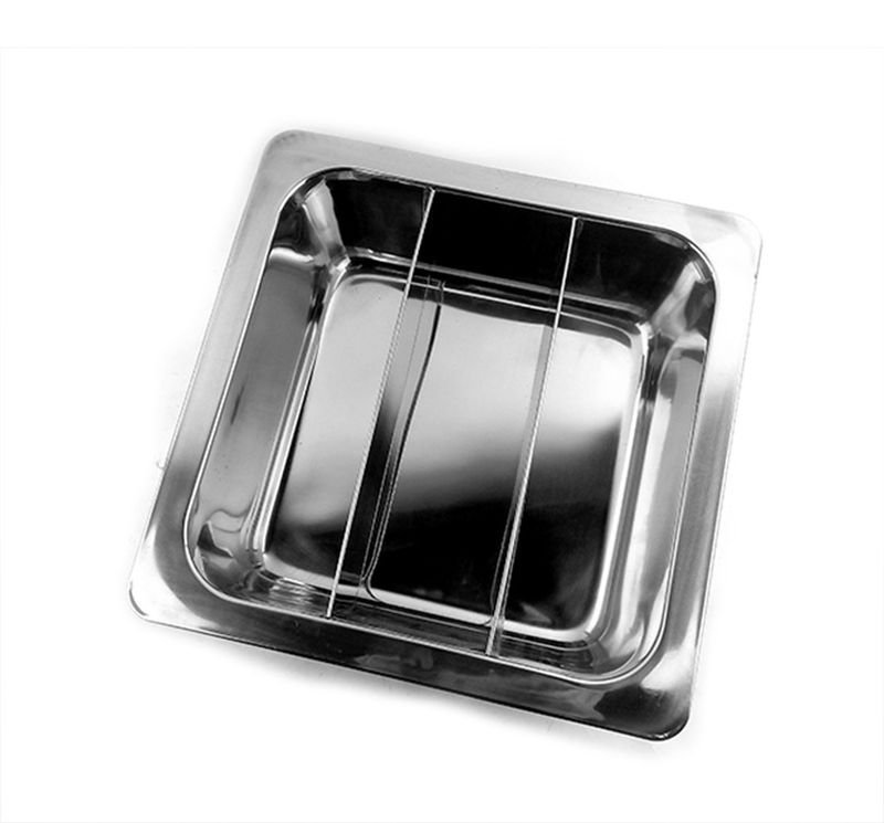 33CM 3 Cell Stainless Steel Thick Square Fondue Pots Divided Duck Hot Pan Grid Soup Pot