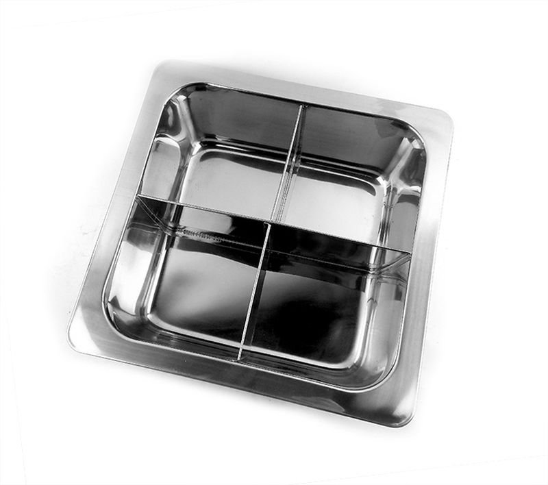 33CM 4 Cell Stainless Steel Thick Square Fondue Pots Divided Duck Hot Pan Grid Soup Pot