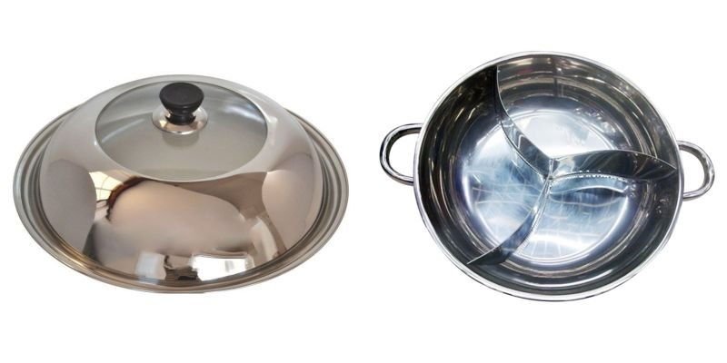Stainless Steel Duck Hot Pot Thick Cooker Pots with Lid Special Induction Fondue Pan 34 CM
