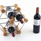 Luxury Wood and Steel Six Mounted Cooler Wine Rack Bottle Holder
