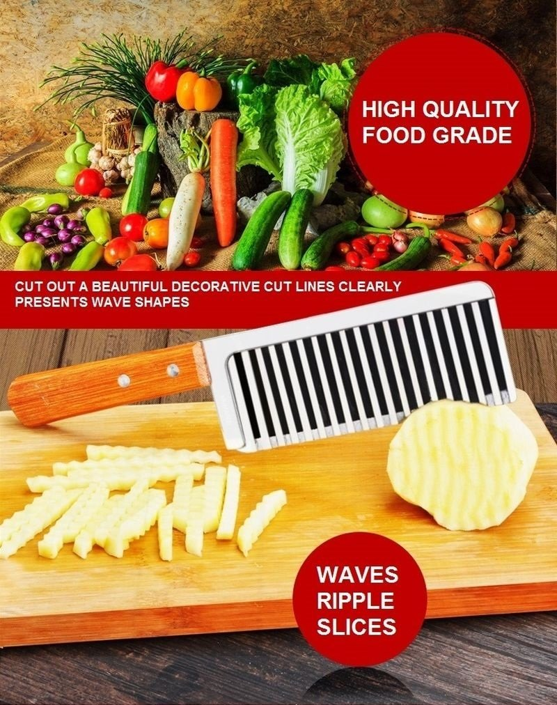 Stainless Steel Ripple Wave Knife French Fries Knife Potato Cutter with Wooded Handle