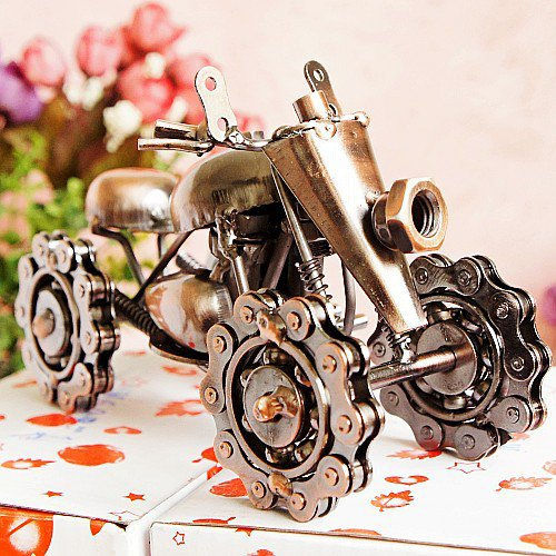 Color Red Wine Iron Chain Snowmobile Model Vintage Car