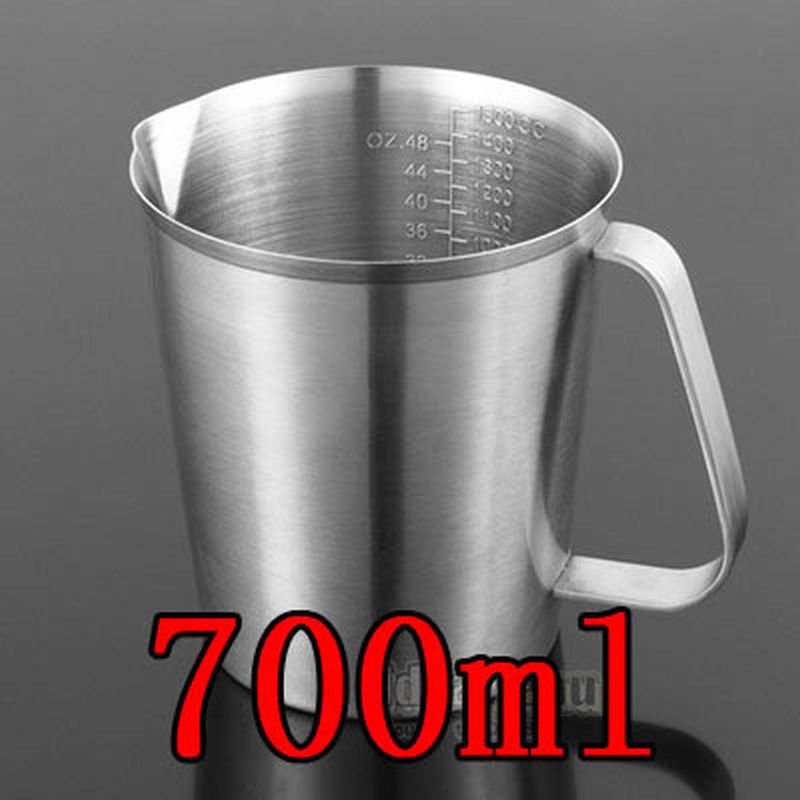 700ML Thickened 304 Stainless Steel Measuring Cup Milk Tea Coffee OZ ML CC Scale
