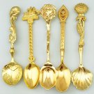 COLOR GOLD 5 Pcs/Set Alloy Vintage Small Creative Retro Style Coffee Tea Spoon