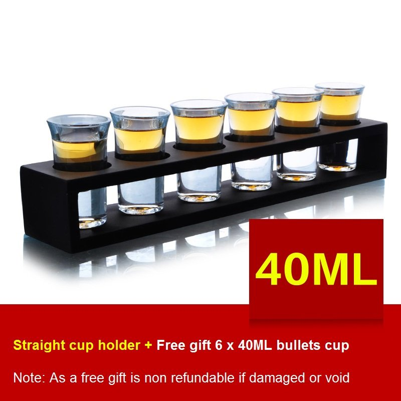 Straight Wooden Tray Bar Club Small Bullets Cup Holder 6 Holes + Gift 40ml Glass