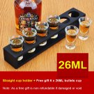 Straight Wooden Tray Bar Club Small Bullets Cup Holder 6 Holes + Gift 26ml Glass