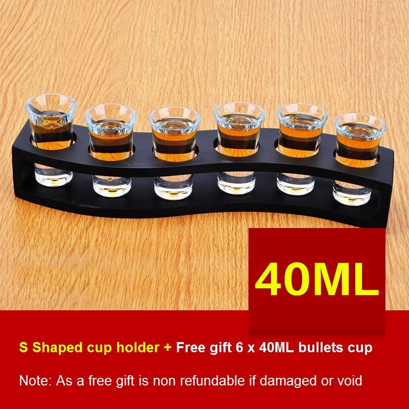 S-Shaped Wooden Tray Bar Club Small Bullets Cup Holder 6 Holes + Gift 40ml Glass