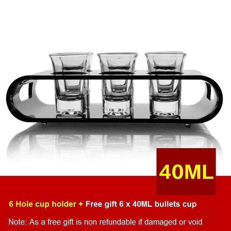 Black U-Shaped Tray Bar Club Small Bullets Cup Holder 6 Holes + Gift 40ml Glass