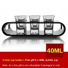 Black U-Shaped Tray Bar Club Small Bullets Cup Holder 6 Holes + Gift 40ml Glass