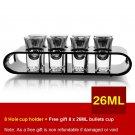 Black U-Shaped Tray Bar Club Small Bullets Cup Holder 8 Holes + Gift 26ml Glass
