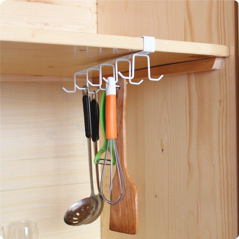 Double Rows 10 Hook Spot Metal Cabinet Wardrobe Shelves Cup Spoon Spatula hanger