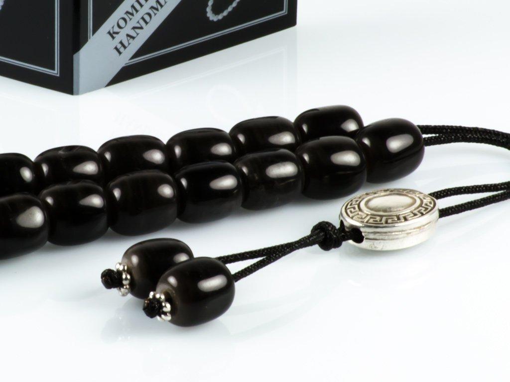 Dark Grey Obsidian Gem Greek Worry Beads|Meander Silver Spacer