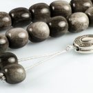Gray Obsidian Gemstone Greek Komboloi Worry Beads|Meander Silver Spacer