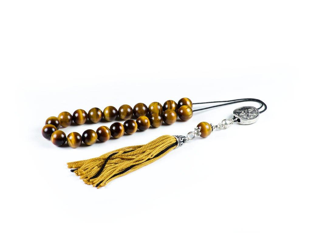 Tiger's Eye Gemstone Greek Worry Beads Komboloi|Prayer Beads|Star of Vergina Metal Spacer