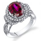 Women's Vintage Sterling Silver Oval Ruby Halo Ring