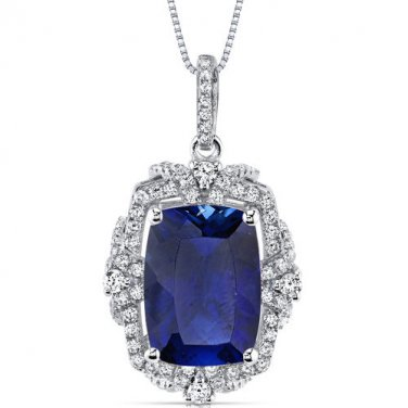 Women's Sterling Silver Vintage Cushion Blue Sapphire Pendant Necklace