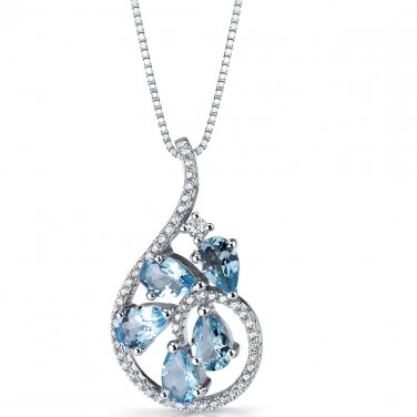 Women's Sterling Silver Swiss Blue Topaz Dewdrop Pendant Necklace
