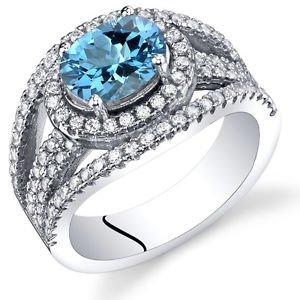 Women's Sterling Silver Genuine Swiss Blue Topaz Oval Halo Ring