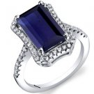 Women's Sterling Silver Vintage Emerald Cut Blue Sapphire Halo Ring