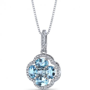 Women's Sterling Silver Swiss Blue Topaz Clover Pendant Necklace