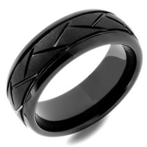 Men's Black Ceramic Wedding Band Ring Unique Carved Design
