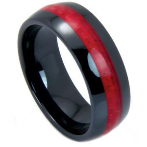 Men's Black Ceramic Domed Wedding Band Ring with Red Carbon Fiber Inlay