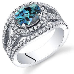 Women's Sterling Silver Oval Alexandrite Halo Ring