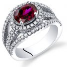 Women's Sterling Silver Oval Ruby Halo Ring