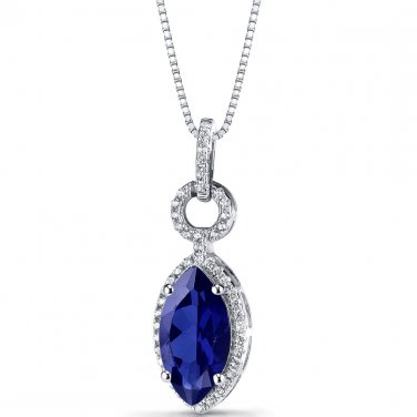 Women's Sterling Silver Vintage Marquise Cut Blue Sapphire Pendant Necklace