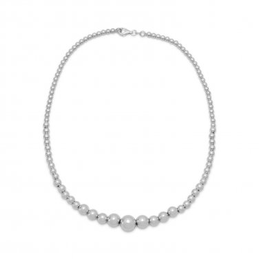 Women's Sterling Silver Graduated Bead Necklace