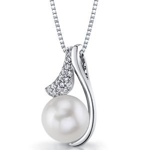 Women's Sterling Silver White Pearl Pendant Necklace with Cubic Zirconia