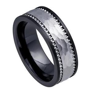 Men's 8mm Black Ceramic Wedding Band Ring Tungsten Carbide Inlay