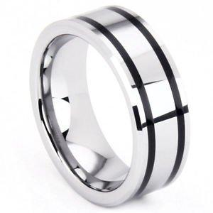 Men's 8mm Tungsten Carbide Wedding Band Ring Double Black Resin Inlay No Stone