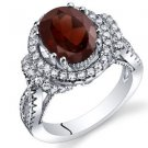 Women's Vintage Sterling Silver Natural Oval Garnet Halo Ring