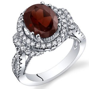 Women's Vintage Sterling Silver Natural Oval Garnet Halo Ring