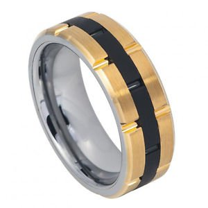 Men's Two Tone Gold and Black Tungsten Carbide Wedding Band with Brick Design